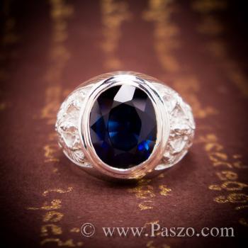 แหวนพญาครุฑ แหวนพลอยไพลิน แหวนผู้ชายเงินแท้ #6