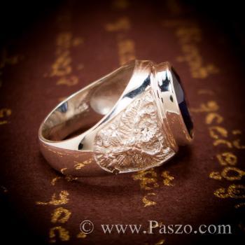แหวนพญาครุฑ แหวนพลอยไพลิน แหวนผู้ชายเงินแท้ #7