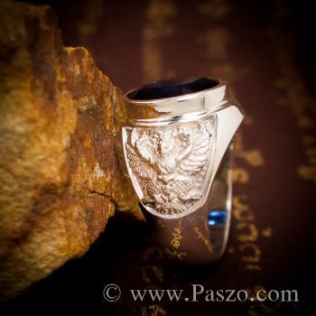 แหวนพญาครุฑ แหวนพลอยไพลิน แหวนผู้ชายเงินแท้ #8