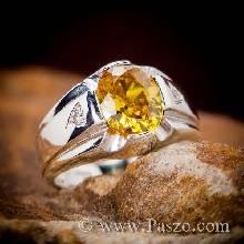 แหวนแห่งแสง แหวนพลอยบุษราคัม แหวนผู้ชายเงินแท้ บ่าฝังเพชร แหวนพลอยสีเหลือง แหวนผู้ชาย