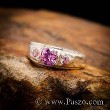 แหวนพลอยสีชมพู พลอย3เม็ด แหวนเงินแท้