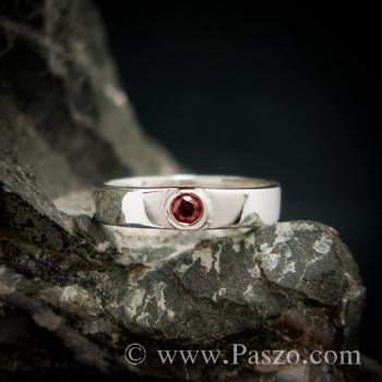 แหวนโกเมน แหวนพลอยโกเมน แหวนเงิน #4