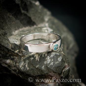 แหวนพลอยสีฟ้า บูลโทพาซ แหวนเงินแท้ #2