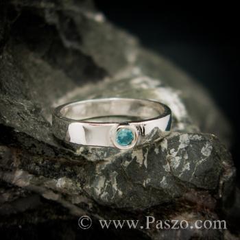 แหวนพลอยสีฟ้า บูลโทพาซ แหวนเงินแท้ #3