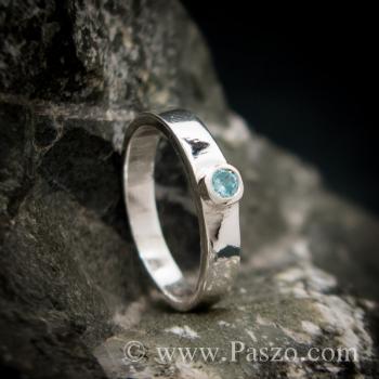 แหวนพลอยสีฟ้า บูลโทพาซ แหวนเงินแท้ #4
