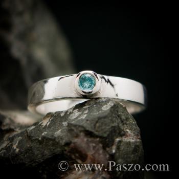 แหวนพลอยสีฟ้า บูลโทพาซ แหวนเงินแท้ #5