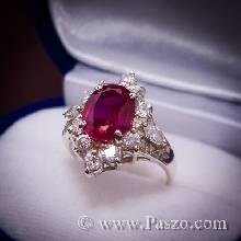 แหวนทับทิมล้อมเพชร ตัวแหวนเงินแท้ชุบทองคำขาว