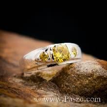 แหวนบุษราคัม แหวนเงินแท้ พลอยสีเหลือง พลอยสามเม็ด