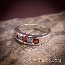 แหวนพลอย แหวนแถว โกเมน อความารีน แหวนเงินแท้