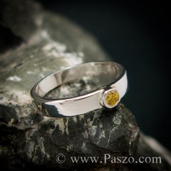 แหวนพลอยสีเหลือง แหวนบุษราคัม แหวนเงินแท้ #2
