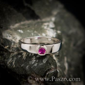 แหวนทับทิมสีชมพู แหวนเงินแท้ ฝังพลอยเม็ดเดี่ยวเม็ดเล็กๆ #2