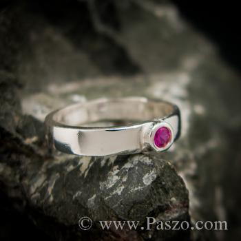 แหวนทับทิมสีชมพู แหวนเงินแท้ ฝังพลอยเม็ดเดี่ยวเม็ดเล็กๆ #3