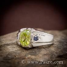 แหวนแห่งแสง แหวนเพอริดอท แหวนผู้ชายเงินแท้ สำหรับราศีสิงห์ แหวนผู้ชาย