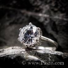 แหวนเพชร แหวนเพชรเม็ดเดี่ยว หนามเตย6จุด แหวนเงินฝังเพชร