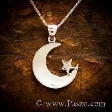จี้ห้อยคอ จี้พระจันทร์เสี้ยว จี้สัญลักษณ์ทางศาสนาอิสลาม จี้เงินแท้ ฝังเพชร