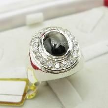 แหวนเงินแท้ฝังพลอย Black star แท้ล้อมเพชร แหวนเงินแท้ 925 สำหรับผู้ชาย
