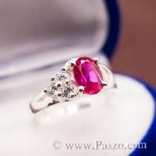 แหวนทับทิม บ่าแหวนฝังเพชร แหวนเงินแท้