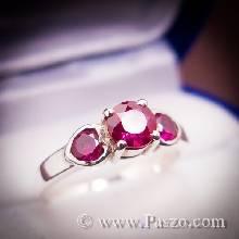 แหวนพลอยทับทิมสีแดง พลอยสามเม็ด แหวนเงินแท้