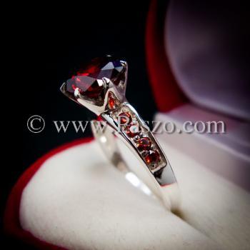 แหวนโกเมน แหวนชูพลอย แหวนเงินแท้ #3