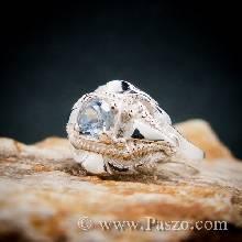 แหวนพลอยเงินแท้ พลอยสีน้ำทะเล