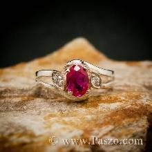 แหวนพลอยทับทิมสีแดง เพชรสวิส