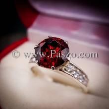แหวนโกเมน แหวนชูพลอย แหวนเงินแท้ บ่าฝังเพชร