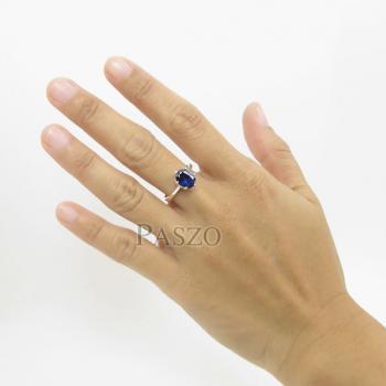 แหวนพลอยไพลิน เม็ดเดี่ยว หนามเตย6จุด #4