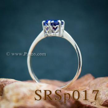 แหวนพลอยไพลิน เม็ดเดี่ยว หนามเตย6จุด #6