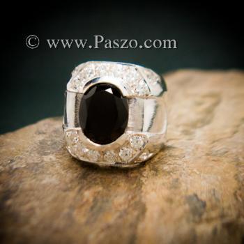 แหวนผู้ชายนิล แหวนผู้ชายเงิน ฝังนิลแท้ #2