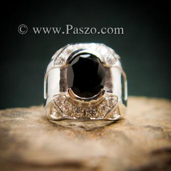 แหวนผู้ชายนิล แหวนผู้ชายเงิน ฝังนิลแท้ #4