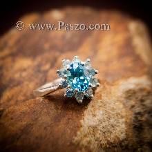 แหวนพลอยสีฟ้า แหวนเงินแท้ บูลโทพาซ