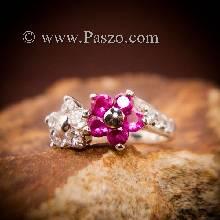 แหวนดอกไม้ แหวนพลอยเงินแท้ ฝังทับทิม เพชรสวิส