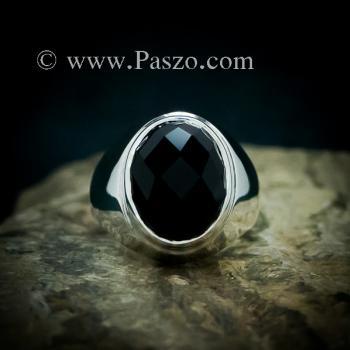 แหวนผู้ชายนิล แหวนพลอยสีดำ แหวนเงินแท้ #2