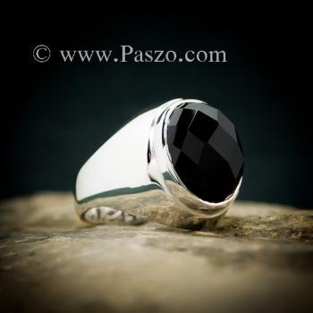 แหวนผู้ชายนิล แหวนพลอยสีดำ แหวนเงินแท้ #4