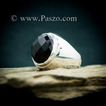 แหวนผู้ชายนิล แหวนพลอยสีดำ แหวนเงินแท้ #5