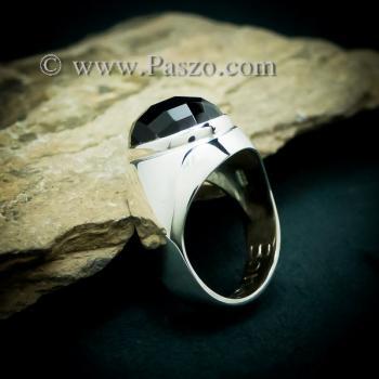 แหวนผู้ชายนิล แหวนพลอยสีดำ แหวนเงินแท้ #6