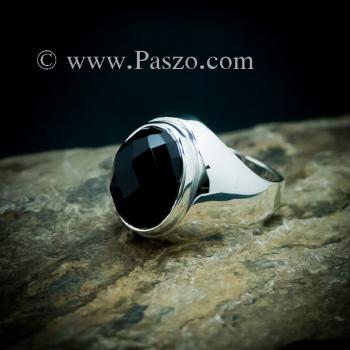 แหวนผู้ชายนิล แหวนพลอยสีดำ แหวนเงินแท้ #7