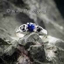 แหวนไพลิน ฝังนิลแท้ แหวนพลอยเงินแท้ พลอย3เม็ด