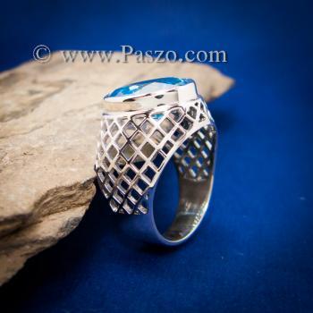 แหวนฉลุลาย แหวนพลอยสีฟ้า แหวนผู้ชายเงินแท้ #2