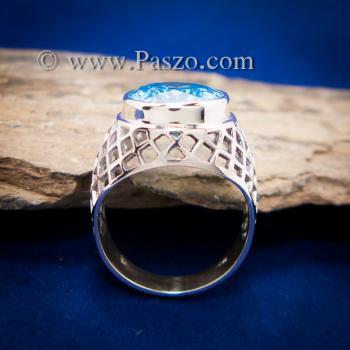 แหวนฉลุลาย แหวนพลอยสีฟ้า แหวนผู้ชายเงินแท้ #3