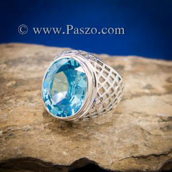 แหวนฉลุลาย แหวนพลอยสีฟ้า แหวนผู้ชายเงินแท้ #4