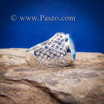 แหวนฉลุลาย แหวนพลอยสีฟ้า แหวนผู้ชายเงินแท้ #5
