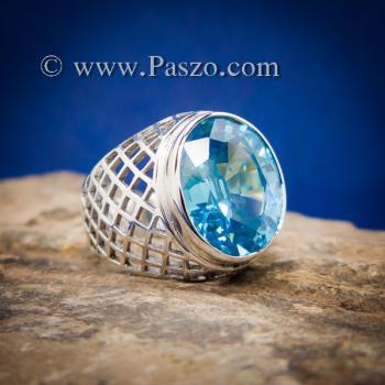 แหวนฉลุลาย แหวนพลอยสีฟ้า แหวนผู้ชายเงินแท้ #6