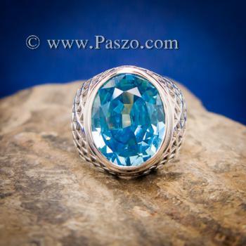 แหวนฉลุลาย แหวนพลอยสีฟ้า แหวนผู้ชายเงินแท้ #7