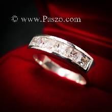 แหวนเพชร แหวนเงินแท้ เพชร เม็ดสี่เหลี่ยม แหวนแถว พลอย6เม็ด แหวนเงินฝังเพชร