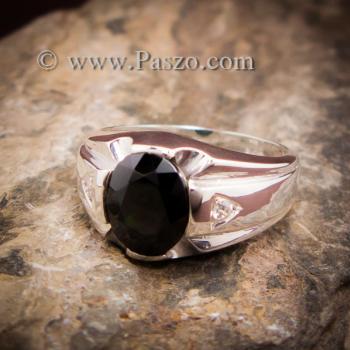 แหวนแห่งแสง แหวนนิลผู้ชาย แหวนผู้ชายเงินแท้ #4
