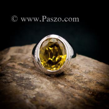 แหวนบุษราคัม แหวนผู้ชายเงินแท้ ฝังพลอยสีเหลือง #2