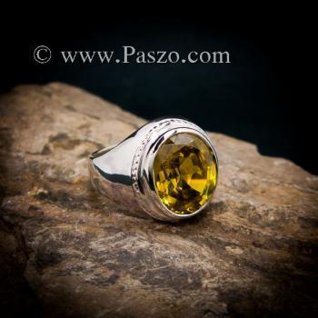 แหวนบุษราคัม แหวนผู้ชายเงินแท้ ฝังพลอยสีเหลือง #3