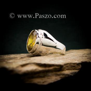 แหวนบุษราคัม แหวนผู้ชายเงินแท้ ฝังพลอยสีเหลือง #4