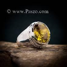แหวนบุษราคัม แหวนผู้ชายเงินแท้ ฝังพลอยสีเหลือง